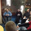 Seminarians listen to a talk given by Fr. Roberto on the theology that informs the Mission's activities.