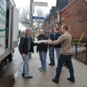 Unloading the food donations.