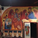 Iconography surrounds the entire mission dining room